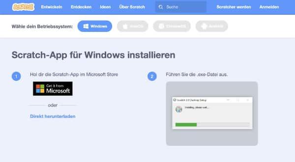 Scratch Download auf Windows zehn