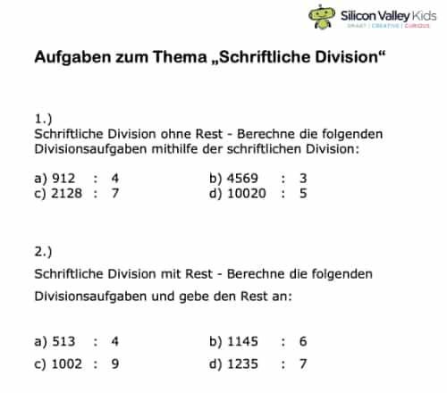 Schriftliche Division Aufgaben
