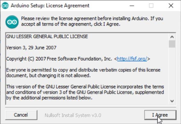Arduino Download - Bestätigung Lizenzvereinbarung