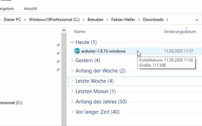 Arduino Download - Datei im Ordner