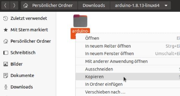 Arduino Download - Eine Kopie des entpackten Unterordners