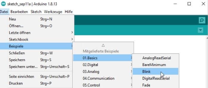 Arduino Download - Das Laden des Blink Sketches