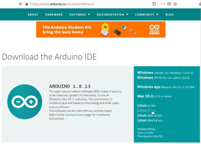 Arduino Download für Linux vierundsechzig Bit