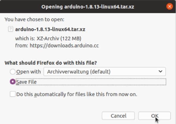 Arduino herunterladen - Speichern der Datei auf der Festplatte