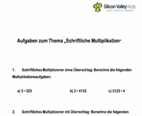 Schriftlich Multiplizieren Aufgaben