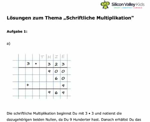 Multiplikationsaufgaben Lösung