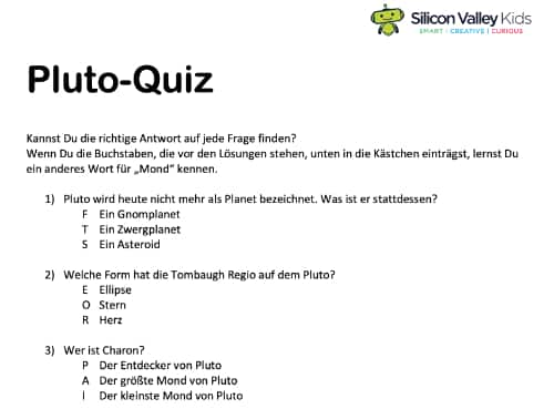 Pluto Steckbrief Kinder Quiz