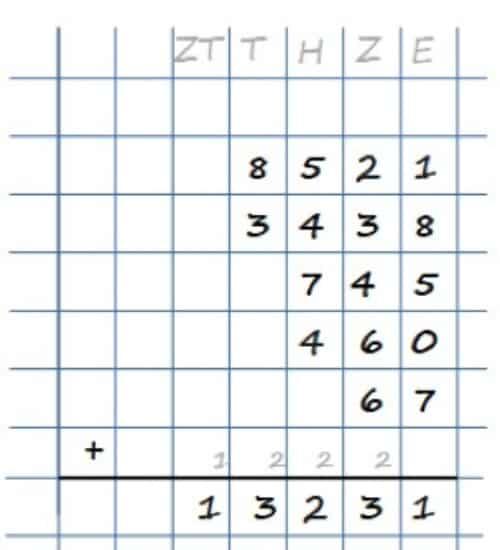Schriftliche Addition - mehrere große Zahlen