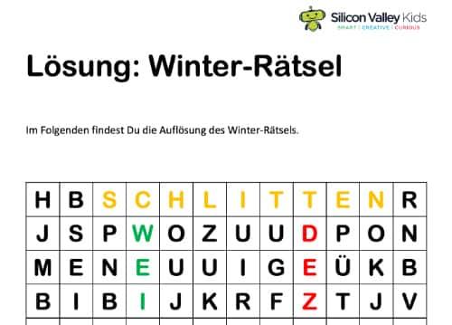 Winterrätsel Lösung