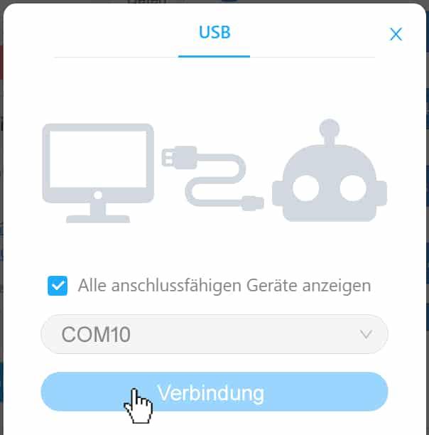 Arduino mit mBlock - Bestätigung der Verbindung