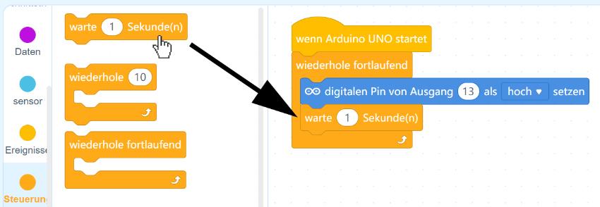 Arduino mit mBlock - Eine Sekunde warten