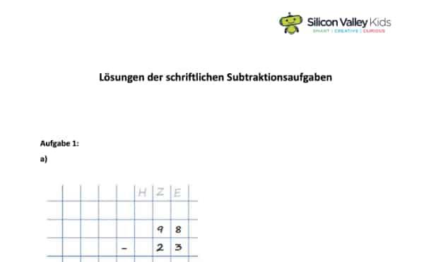 Schriftliche Subtraktion Lösungen