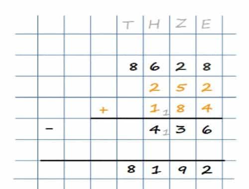 Schriftliches Subtrahieren mehrerer Zahlen