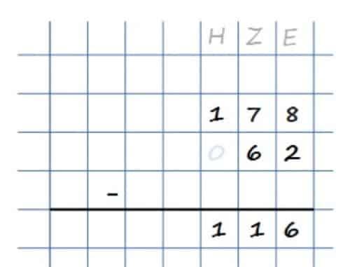 Subtrahieren mit Überschlag - Beispielrechnung