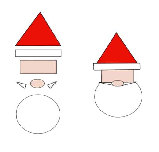 Weihnachtsmann malen mit geometrischen Formen