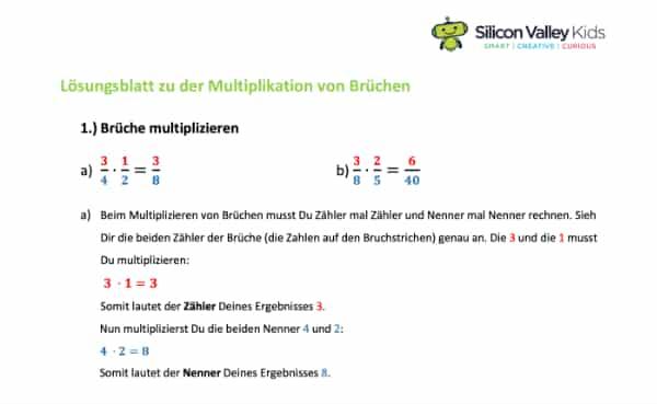 Brüche multiplizieren: Lösung