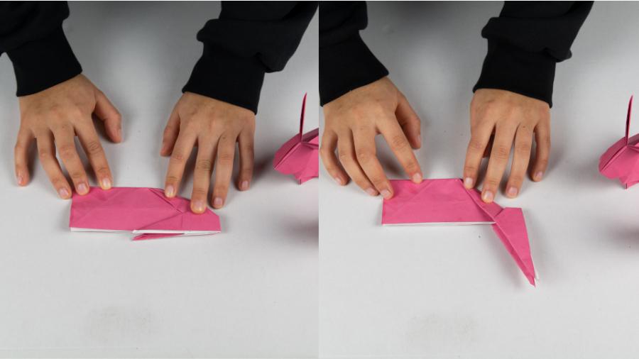 Den Origami Osterhasen einmal halbieren