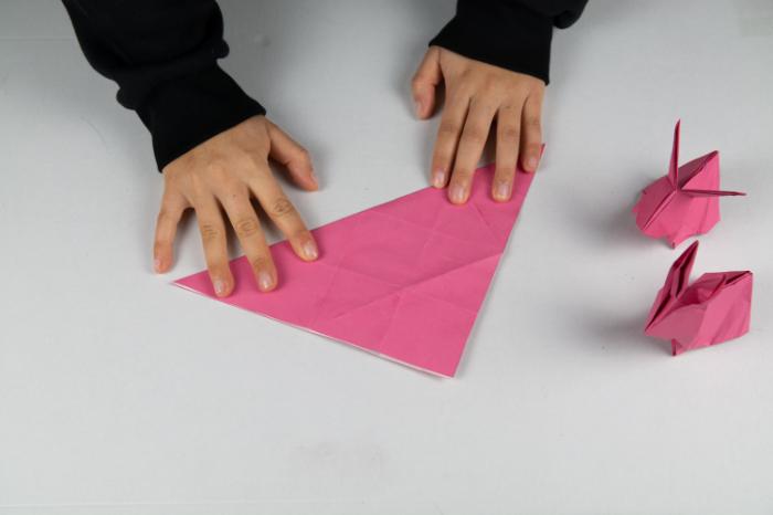 Origami Hase: Diagonal falten