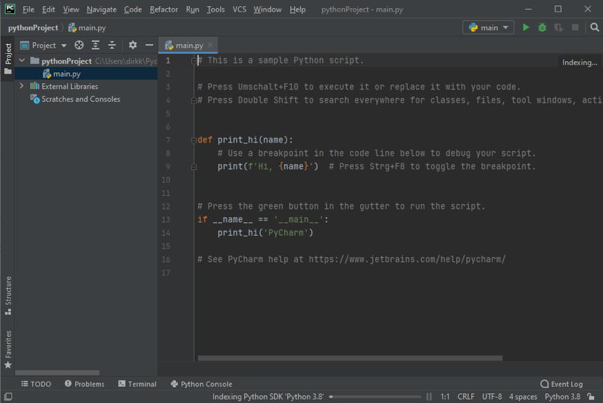 PyCharm Beispielprojekt