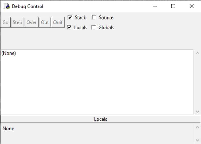 Python IDLE: Der Debug Control