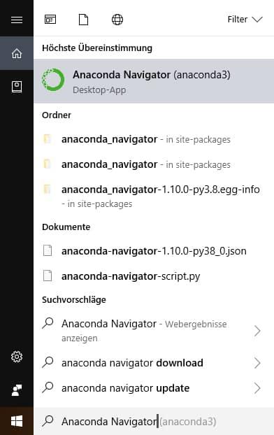 Navigator öffnen in Python Anaconda
