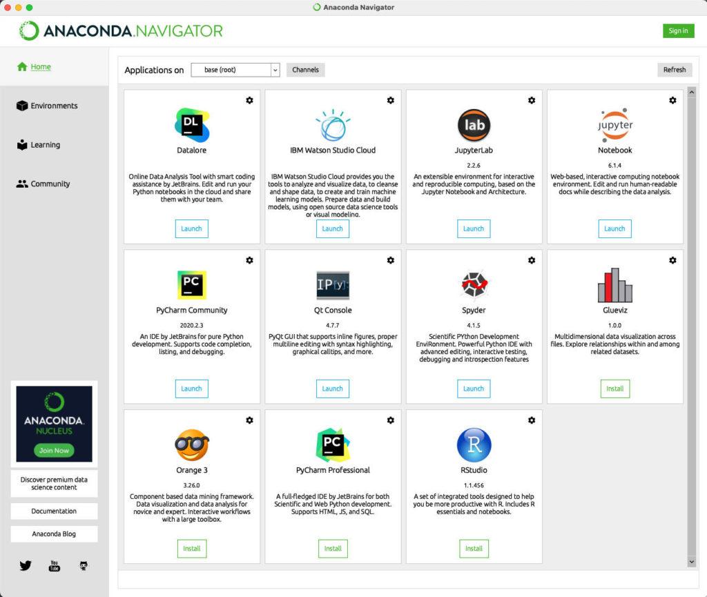 Startseite des Navigators in Python Anaconda