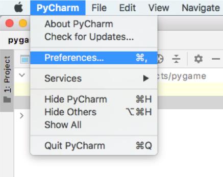 Pygame: Preferences auswählen