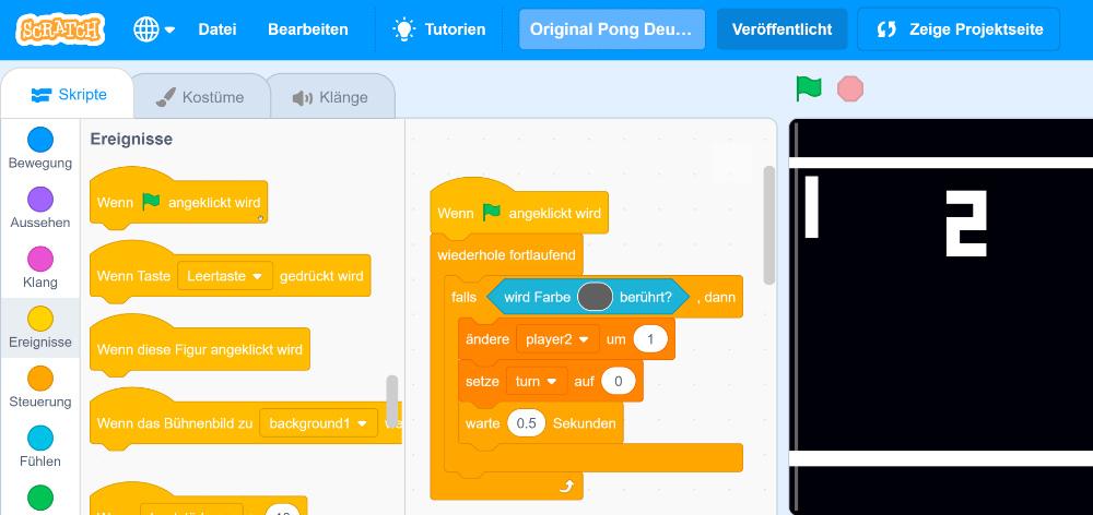 Scratch Projekte: Pong