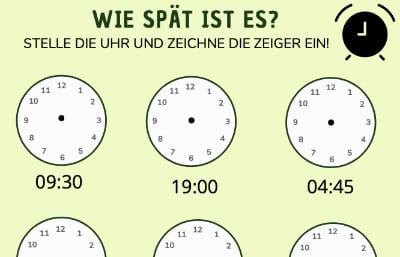 Arbeitsblatt zum Uhr lernen für Zuhause