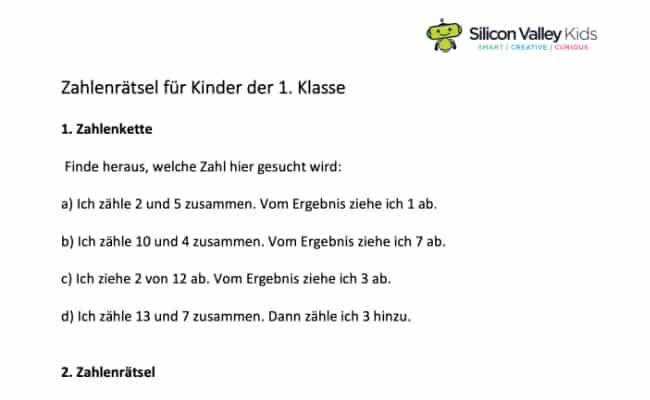 Zahlenrätsel Grundschule Klassenstufe 1