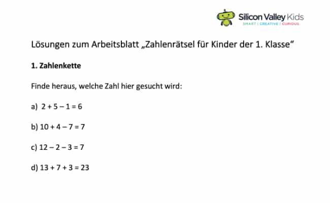 Zahlenrätsel für Kinder: Klassenstufe 1