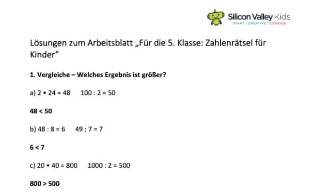 Zahlenrätsel Klassenstufe 5 Lösung