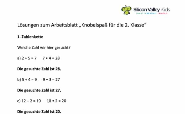Zahlenrätsel Klassenstufe 2 Lösungen