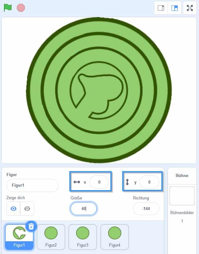 Einstellung der Kreise für das Scratch Labyrinth
