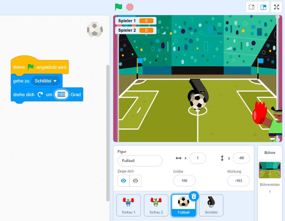 Ping Pong in Scratch – Den Ball ausrichten