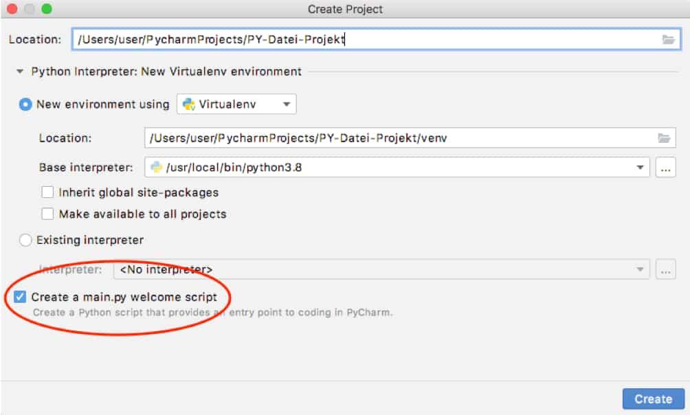 PY Datei erstellen