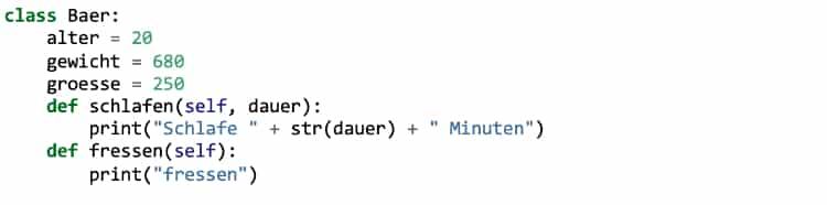 Python Klassen: Methoden