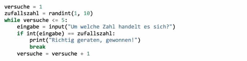 Python while-Schleife: Einrückungen