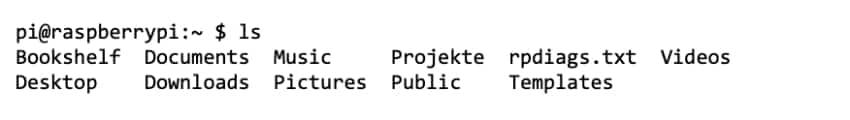 Raspberry Pi Terminal – Dateien im Verzeichnis nachschlagen