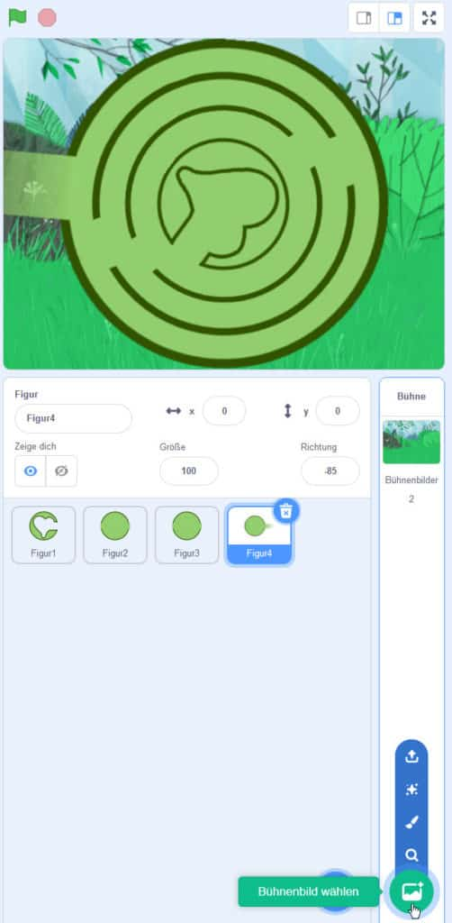 Scratch Labyrinth – Das Bühnenbild aussuchen