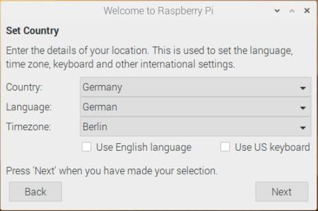 Die Auswahl von Land und Sprache – Raspberry Pi Download & Installation