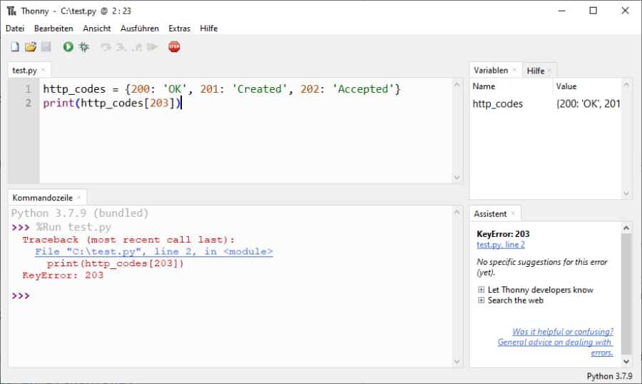 Fehlermeldung im Python Dictionary