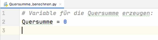 Python Quersumme: Initialisierung
