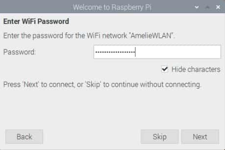 Raspberry Pi Installation – Eingabe des WLAN-Passworts