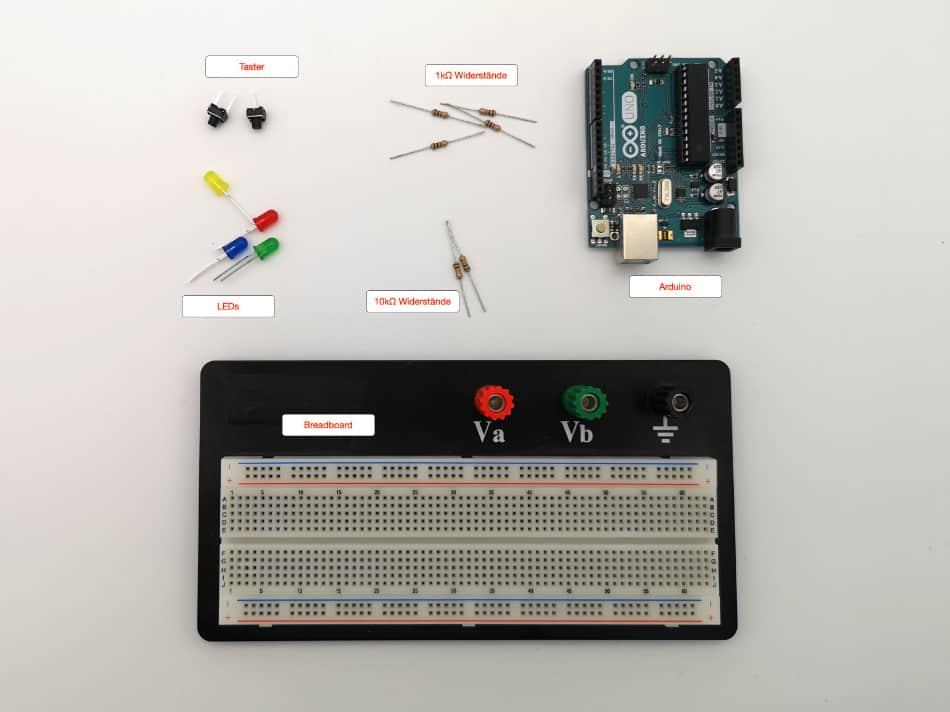 Arduino Reaktionsspiel – Die Bauteile