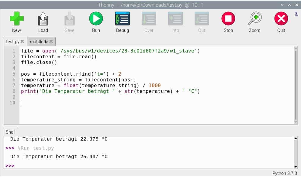 Raspberry Pi Temperatursensor – Die Ausführung