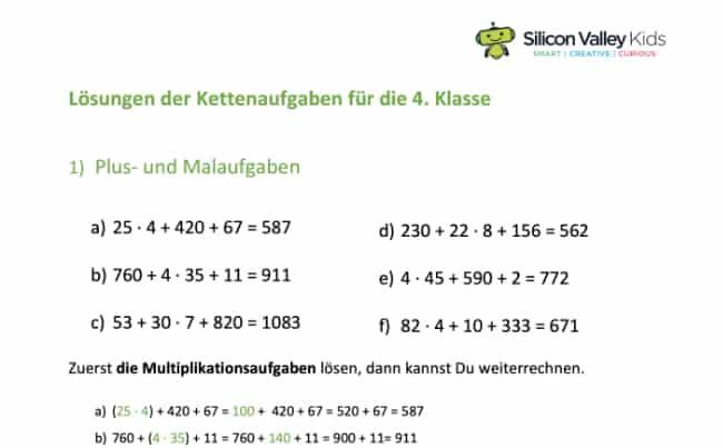 Lösung Klasse 4