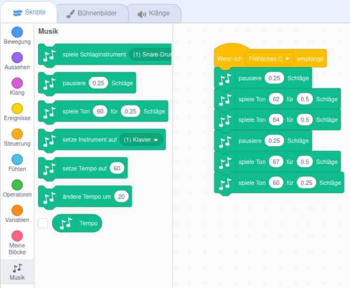 Melodie in Scratch Musik erfinden