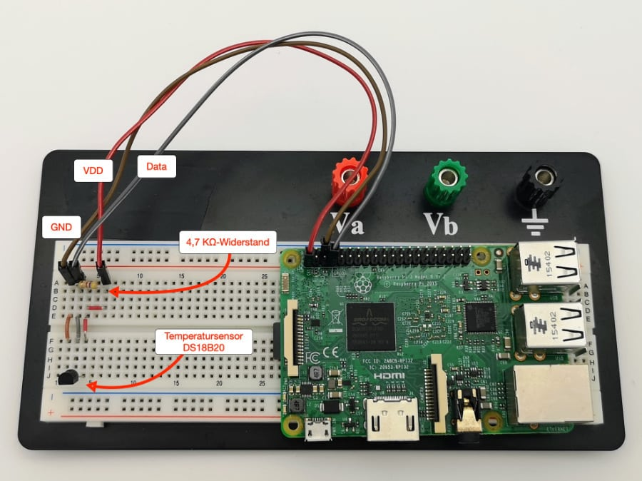 Raspberry Pi Temperatursensor – Das Breadboard mit Sensor