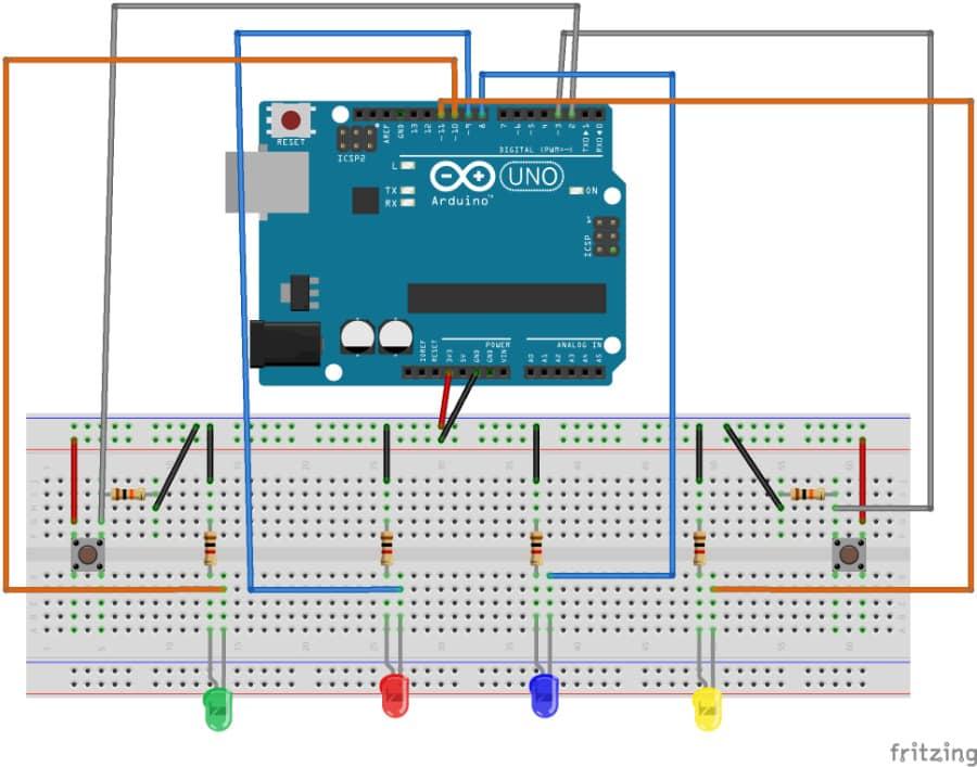 Eine schematische Darstellung des Aufbaus – Arduino Reaktionsspiel
